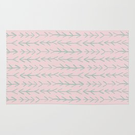 Contemporary Pink and Mint Arrow Pattern Rug