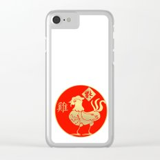 Year of the Rooster Gold and Red Clear iPhone Case