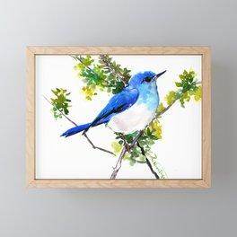 Mountain Bluebird, blue bird, art design blue green cottege Framed Mini Art Print