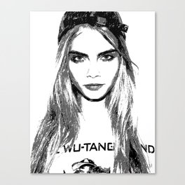 Cara Delevingne, playing with brushes. Canvas Print