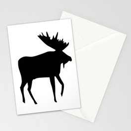 Moose black on white by Monika Shepherdson Stationery Cards