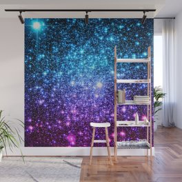 Glitter Galaxy Stars : Turquoise Blue Purple Hot Pink Ombre Wall Mural