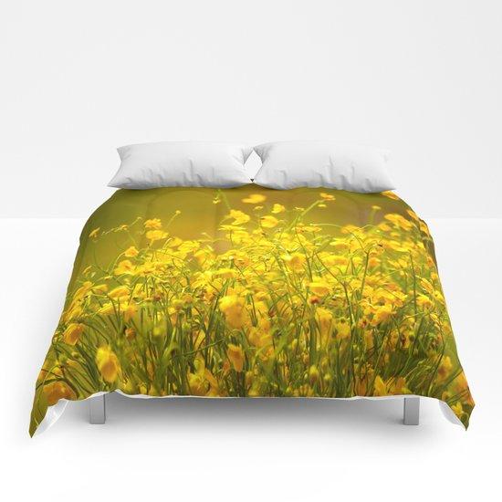 Yellow Mellow Flowers Comforters