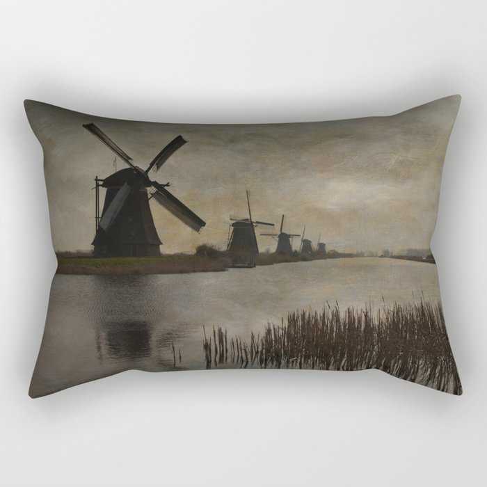 Windmills at Kinderdijk Holland Rectangular Pillow