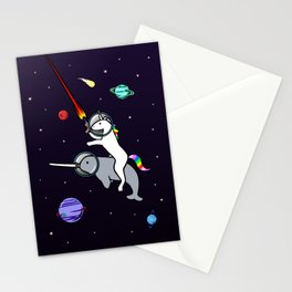 Unicorn Riding Narwhal In Space Stationery Cards