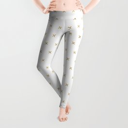White and Gold cross sign pattern Leggings