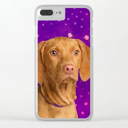 Vizsla  - Hungarian pointer puppy on purple Clear iPhone Case