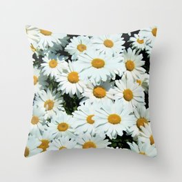 Daisies explode into flower Throw Pillow
