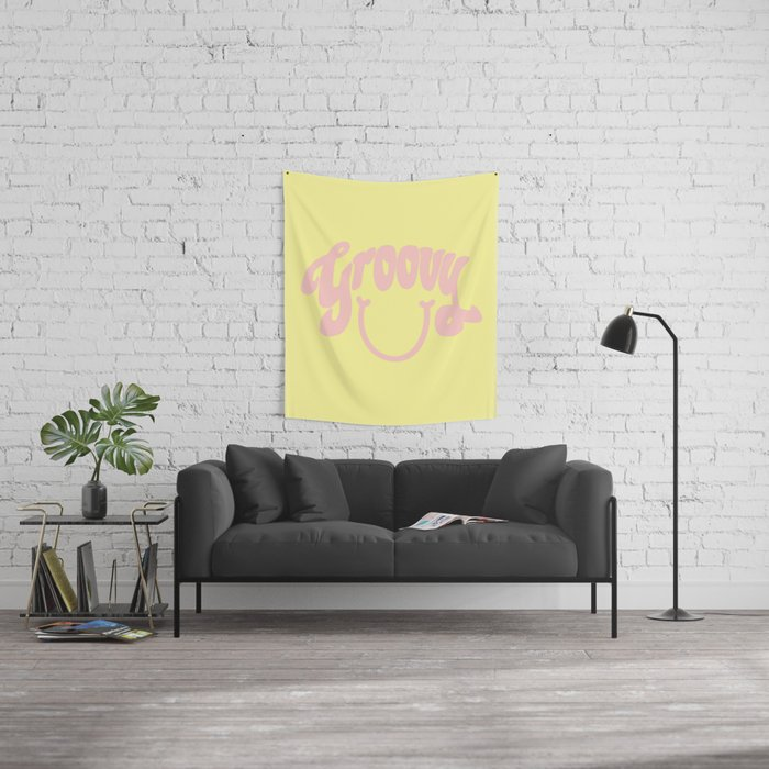 Groovy Smile // Fun Retro 70s Hippie Vibes Lemonade Yellow Grapefruit Pink Lettering Typography Art Wall Tapestry