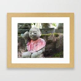 Cute jizo in a Japanese temple Framed Art Print