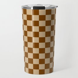 Tan Brown and Chocolate Brown Checkerboard Travel Mug