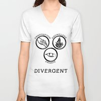 divergent V-neck T-shirts featuring Divergent (Black) by Lunil