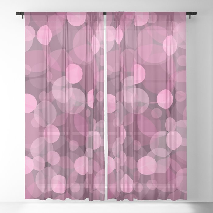 Pink Bubbles 2 Sheer Curtain
