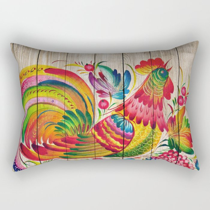 Russian Folk Art on Wood 01 Rectangular Pillow