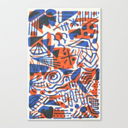 Abstract - Copenhagen and Vermillion Canvas Print