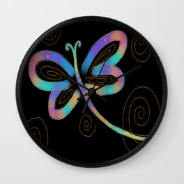 Funky Abstract Dragonfy Digital Painting Wall Clock