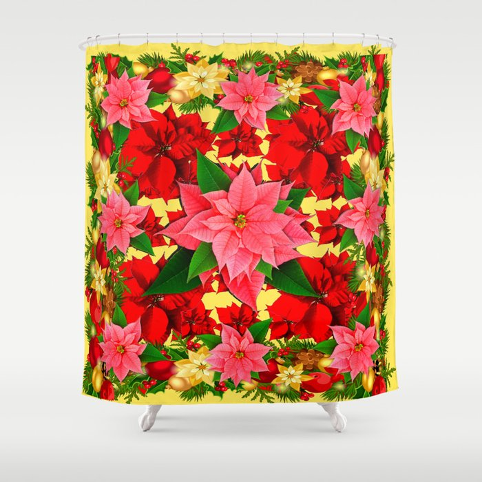 DECORATIVE RED PINK POINSETTIAS CHRISTMAS GREEN ART Shower Curtain