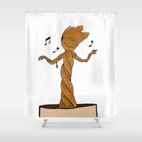 groot Shower Curtains featuring Baby Groot by Jaclyn Celeste