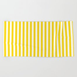 Vertical Stripes (Gold/White) Beach Towel