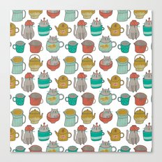 Pattern Project #5 / Cats and Pots Canvas Print
