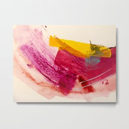 Pink Lemonade: a minimal, colorful abstract mixed media with bold strokes of pinks, and yellow Metal Print