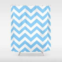 Light sky blue - turquoise color - Zigzag Chevron Pattern Shower Curtain
