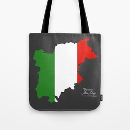 Trentino-Alto Adige map with Italian national flag illustration Tote Bag