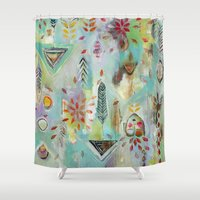 """flora bowley Shower Curtains featuring """"Liminal Rights"""" Original Painting by Flora Bowley by Flora Bowley"""
