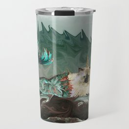 Behold the Mythical Merkitticorn - Mermaid Kitty Cat Unicorn Travel Mug