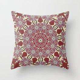 Deep Red Mint Mandala Dream Throw Pillow