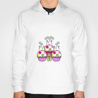 polkadot Hoodies featuring Cute Monster With Pink And Purple Polkadot Cupcakes by Mydeas
