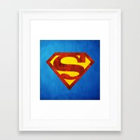 superman Framed Art Prints featuring Superman by S.Levis