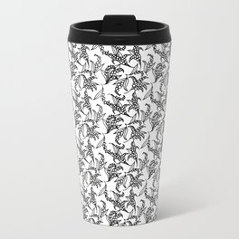 Black on White Vintage Lily-of-the-Valley Pattern Travel Mug