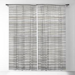 Rake Watercolor in Black and White Sheer Curtain