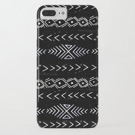 Mudcloth linocut design original black and white minimal inky texture pattern iPhone Case