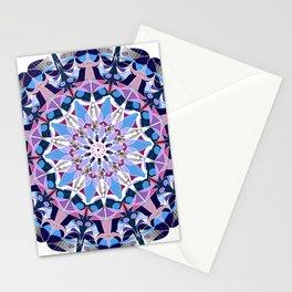 blue grey white pink purple mandala Stationery Cards