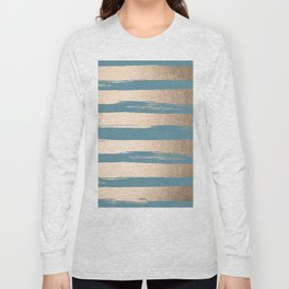 Painted Stripes Gold Tropical Ocean Blue Long Sleeve T-shirt