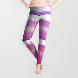 Simply hand painted pink and magenta stripes on white background  2-Mix and Match Leggings