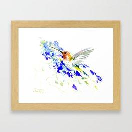 Hummingbird and Blue Flowers Framed Art Print