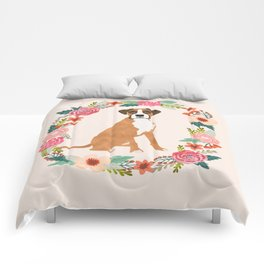 Boxer floral wreath flowers dog breed gifts Comforters