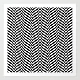 Black White Bargello Chevron Stripe Art Print