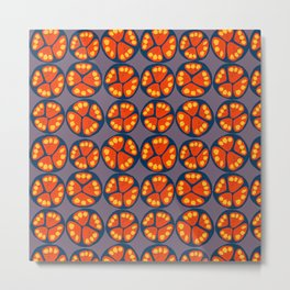 Fruit slices. Blue and orange tropical fruits with yellow seeds on a purple background. Metal Print