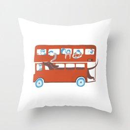 Dachshund on a London bus Throw Pillow