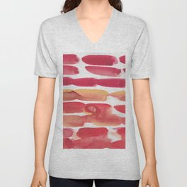 34   | 190408 Red Abstract Watercolour Unisex V-Neck