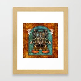 Cacotopia Steampunk Kitty - brass Framed Art Print