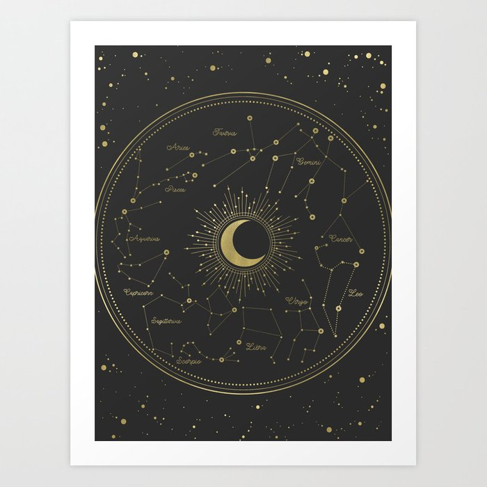 Gold Zodiac Map Art Print