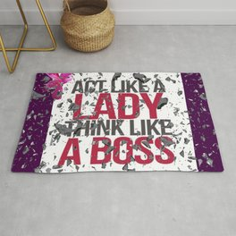 Act Like A Lady Think Like a Boss - Shattered Glass Ceiling Rug