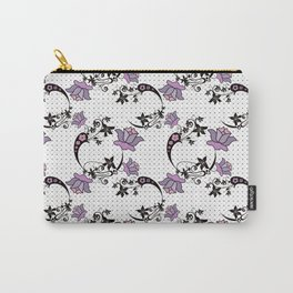 Floral pattern on black mesh . Carry-All Pouch