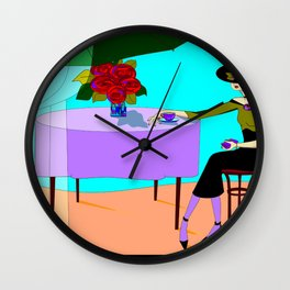A Red headed Lady at the Outdoor Cafe Enjoying Coffee Wall Clock
