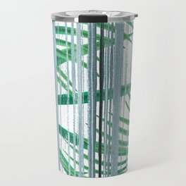 Palm leaves on a striped background. Travel Mug